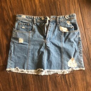 Jean skirt with ripped and fringed look!